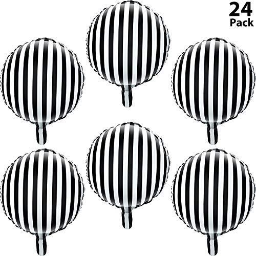 Black And White Striped Balloons (24 Pieces Black and White Striped Balloons 18 Inch Helium Foil Party Balloons Checkerboard Round Balloons for Party)