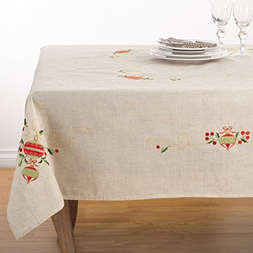 Fennco Styles Embroidered Ornament Design Christmas Holiday Linen Blend Tablecloth (67''x160'' Tablecloth) by fenncostyles.com (Image #2)