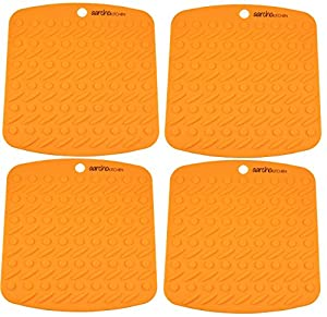Aarcho Kitchen - Set of Premium Flexible Silicone Pot Holders/Trivets, Durable, Non-slip Pads, Multiple Colors, Garlic Peelers, Spoon Rests, Multiple Use