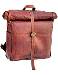 Vintage Leather Macbook Briefcase Leather School Bag Backpack Rucksack