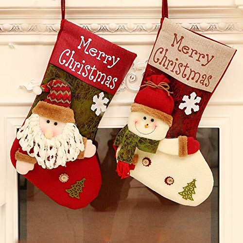 QBSM Christmas Stockings, 17'' Xmas Stockings Set of 2 Character Santa, Snowman, 3D Plush Rustic Stocking with Burlap Cuff, Party Favor Supplies for Kids Fireplace ()