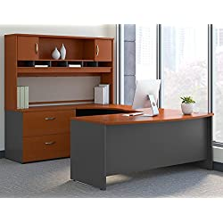 Bush Business Furniture Series C 72W Left Handed Bow Front U Shaped Desk with Hutch and Storage in Auburn Maple