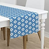 Table Runner - Aztec Tribal Chevron Blue Native Nursery Southwest by Andrea Lauren - Cotton Sateen Table Runner 16 x 108