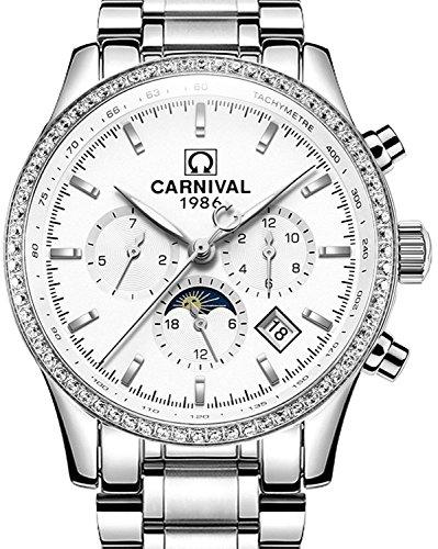Hombres Reloj De Carnaval parte superior Marca de lujo macho acero automático mecánico reloj hombres Multi-fuction luminoso...