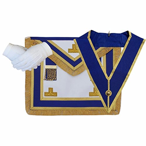 (Bricks Masons Masonic Craft Provincial Full Dress Apron and Collar with free Glove)