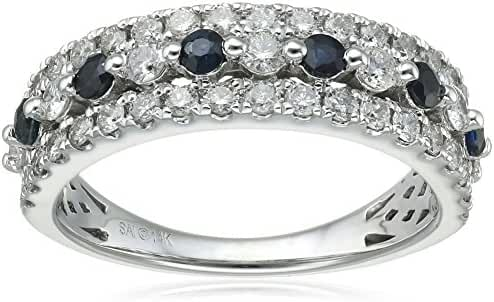 14k White Gold Diamond (3/4cttw, H-I Color, I2 Clarity) and Sapphire Ring