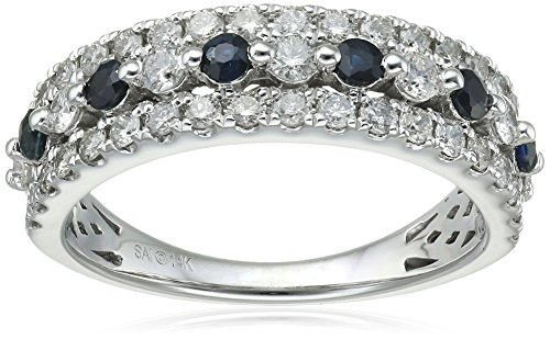 14k White Gold Diamond (3/4cttw) Sapphire Ring, Size 6 by Amazon Collection