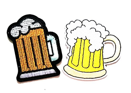 Nipitshop Patches Set 2 Pcs Beer Mug Bar Glass Alcoholic Cold Brew Drink Iron On Applique Patch for Clothes Backpacks T-Shirt Jeans Skirt Vests Scarf Hat Bag ()