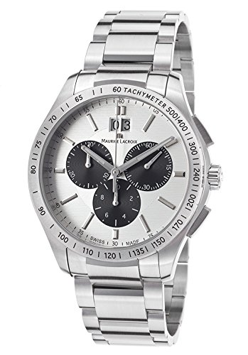 Maurice Lacroix Mi1028-Ss002-130 Men's Miros Chrono Stainless Steel Silver-Tone Dial Ss Watch