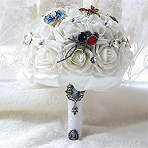 KUKI SHOP Handmade Creative PE Roses Butterflies and Dragonflies Brooch Wedding Bouquet Free Wrist Corsage Bridal Holding Bouquet Bridal Throw Bouquet Bridesmaid Bouquet Wedding Decoration Flowers 33