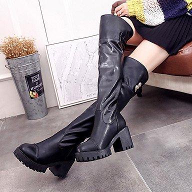 RTRY Zapatos De Mujer Otoño Invierno Pu Confort Botas De Tacón Bajo La Rodilla Botas Altas Para Casual Negro Us8 / Ue39 / Uk6 / Cn39 US7.5 / EU38 / UK5.5 / CN38