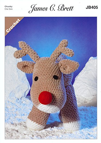 James Brett Flutterby Chunky Crochet Pattern Rudolf the Reindeer Fun Toy (JB405)