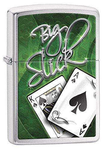 Zippo Lighter: Big Slick Poker - Brushed Chrome (Big Zippo Lighter)