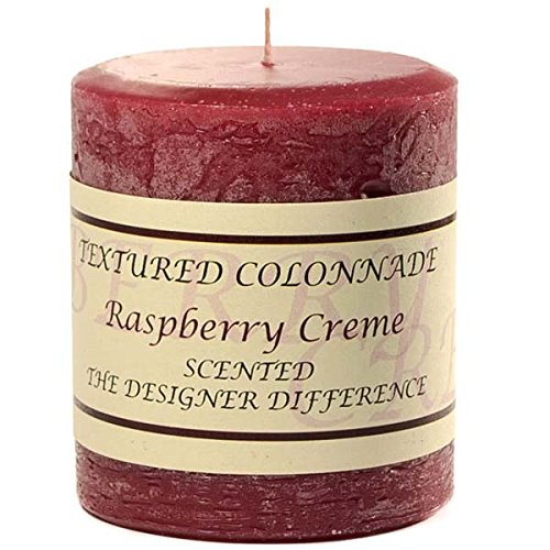 Textured 3x3 Raspberry Cream Pillar Candle For Wedding/Dinner, Holiday Event, Home Decoration, 30 to 40 hours, 3 in. diameterx3.25 in. tall, 1 Piece (Cherry Cobbler Candle)