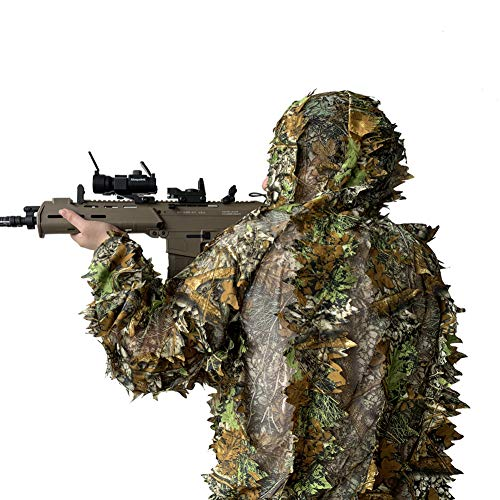LOOBEEN Ghillie Suit Kids 3-in-1 Camouflage Clothes Leafy
