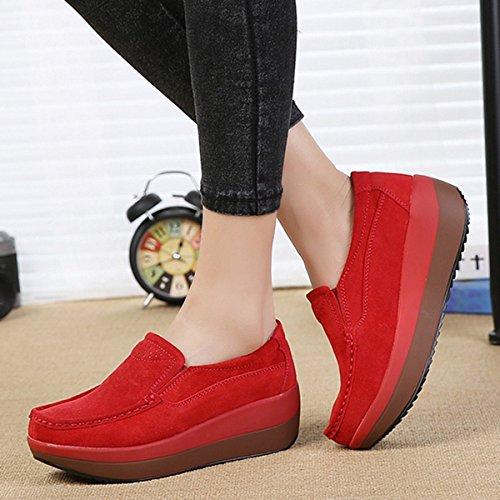 Gracosy Cuneo Pelle Tacco Casual Nascosto Scamosciato Con Piattaforma Sneaker Loafers In Mocassini Rosso Comode Comodo Zeppa Guida Scarpe Donna Moda Da ISvpSA