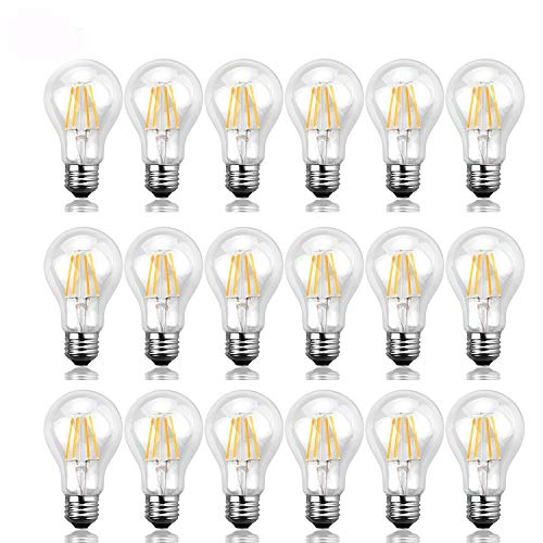 comfortableplus 18 Pack A19 4W LED Vintage Filament Bulb,40W Incandescent Equivalent, Edison Globe Bulbs,E26 Base,520lm,5000K Daylight,360°Beam Angle -