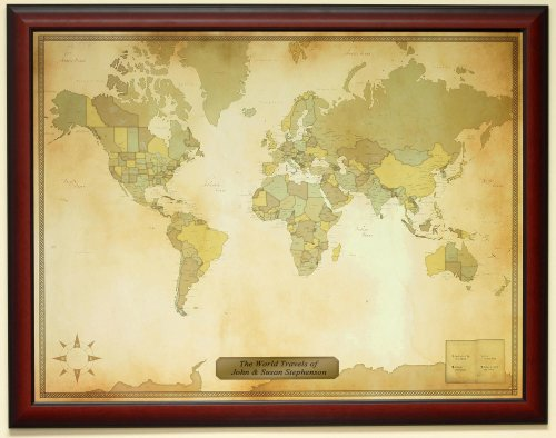 Personalized Push Pin Vintage World Travel Map with Custom Brushed Gold Plaque by Luggage Pros