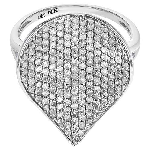(Rachel Koen Pave Diamond Right Hand Ring 1.10CT 18K White Gold)