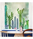 YL Stained Glass Decorative Window Film, Premium Static Cling No-Glue Stained Glass Decorative Window Film, Vinyl Scrub Privacy Window Film (45X60CM, Cactus)