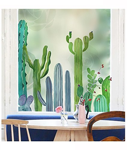 YL Stained Glass Decorative Window Film, Premium Static Cling No-Glue Stained Glass Decorative Window Film, Vinyl Scrub Privacy Window Film (45X60CM, Cactus) by YINGLI