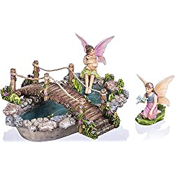 Joykick Fairy Garden Fish Pond Kit - Miniature Hand Painted Figurine Statues with Accessories - Set of 4pcs for Your House or Lawn Decor