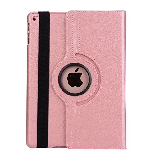 Price comparison product image 9.7 inch iPad Case Air 2 Cover, Dream Wings 360 Degrees Rotating Multi Angles Screen Protective Flip Folio Stand Smart Case Cover for Apple iPad Air 2 9.7 inch Tablet (iPad Air 2,  Rose Gold)