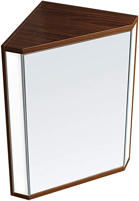 Amazon Com Lighted Triangle Mirror Cabinet Bathroom Mirror Cabinet With Door Bedroom Wall Hanging Locker Corner Side Cabinet Color Brown Size 476033 Cm Home Kitchen
