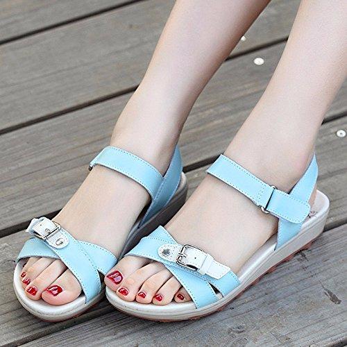 Con Estate Piatta blu 55 uk6 us8 No Ladies Scarpe Toe Deduzione cn40 5 Sandali Sandali Gli eu39 5 Piatto Studenti Shoes WfxcnX