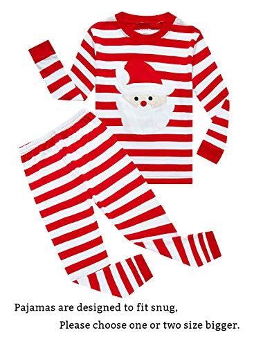 (Family Feeling Little Boys Girls' Santa Claus Christmas Cotton Long Sleeve Pajama Set T Shirts Pants)