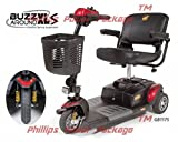 Golden Technologies - Buzzaround XLS - Compact Travel Scooter - 3-wheel - Red - PHILLIPS POWER PACKAGE TM - TO $500 VALUE