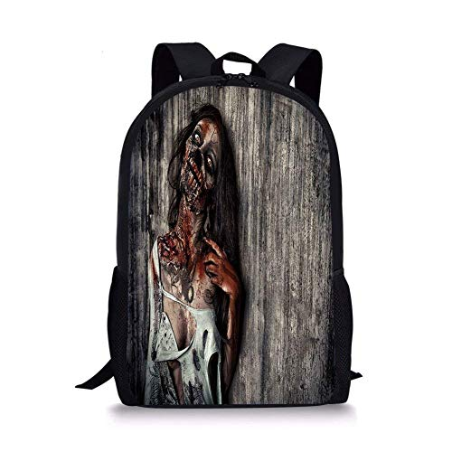 School Bags Zombie Decor,Angry Dead Woman Sacrifice Fantasy Mystic Night Halloween Image Decorative,Dark Taupe Peach Red for Boys&Girls Mens Sport Daypack ()