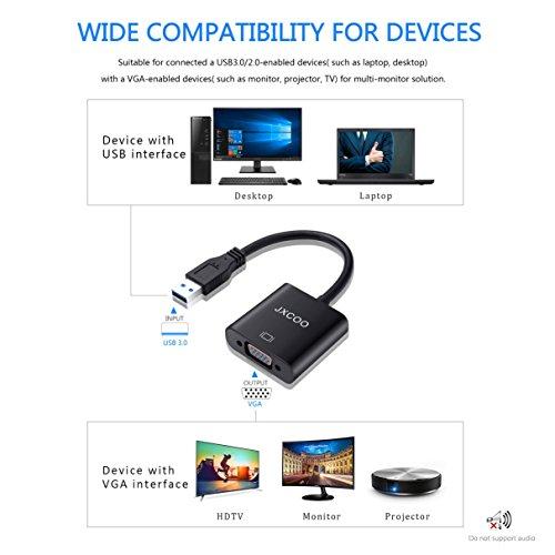High Speed USB 3 0 to VGA Adapter Converter,JXCOO Multi-Display Video  Converter,Support Max Resolution 1080p-Windows 10/8 1/8/7 Desktop Laptop PC