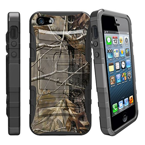 - MINITURTLE Case Compatible with Apple iPhone SE, iPhone 5s, iPhone 5 Dual Layer Kickstand and Holster Black Case - Fallen Leaves Camo