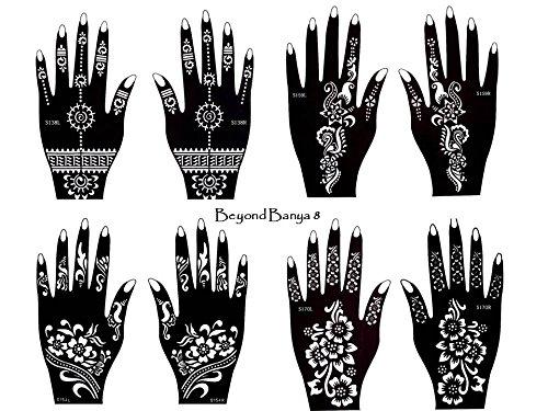 Henna Tattoo Plantillas 8unidades para un solo uso para manos también para Glitter Tattoo y Air Brush Tattoo Adecuado Juego banya Beyond