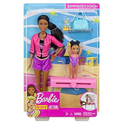 Barbie Ice-Skating Coach Dolls & Playset with Brunette Coach Barbie Doll, Brunette Small Doll and Balance Beam with Sliding Mechanism, Gift for 3 to 7 Year Olds: Toys & Games