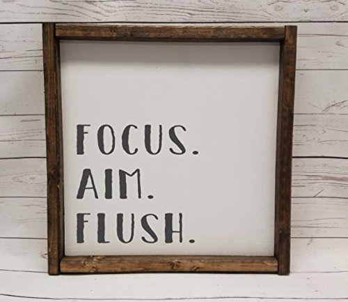 Focus. Aim. Flush, Farmhouse sign, rustic decor, fixer upper style, bathroom decor art, kid or master bathroom, wash your hands