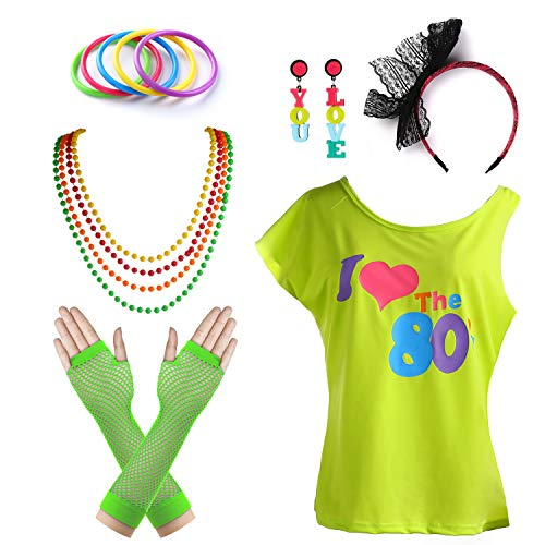1980s Outfit I Love The 80's Disco T-Shirt Fancy Outfit Costume Accessories Set (D, 4) ()