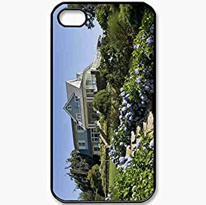 Protective Case Back Cover For iPhone 4 4S Case Architecture Style Design Exterior Home Villa Black