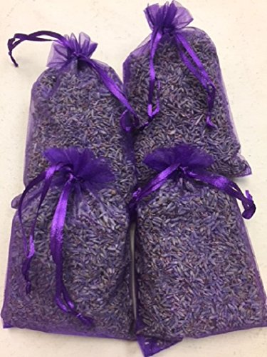 Lavender Sachets for Drawers Pillow Nightstand Car NEW! Larger Size Aromatherapy Lavender Scent In Pretty Purple Organza Bags Each Sachet Filled With About 1.5 Ounces Of Natural French Lavender Pillow Sachet