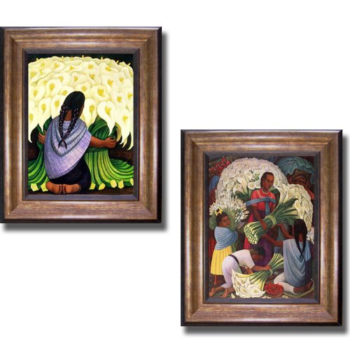 The Flower Seller & Flower Vendor by Diego Rivera 2-pc Premium Bronze-Gold Framed Canvas Set (Ready-to-Hang)