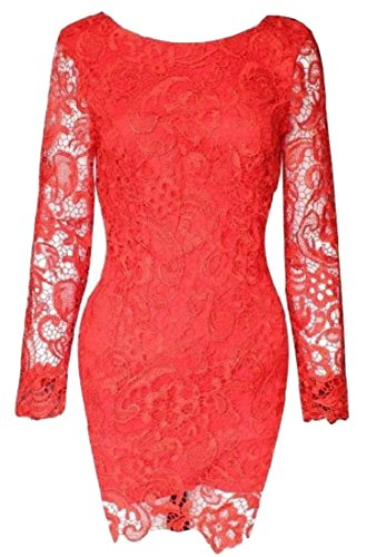 Red Baggy Coolred Neck Womens Round Stitching Dress Slim Fairy Party AR6qwRzg