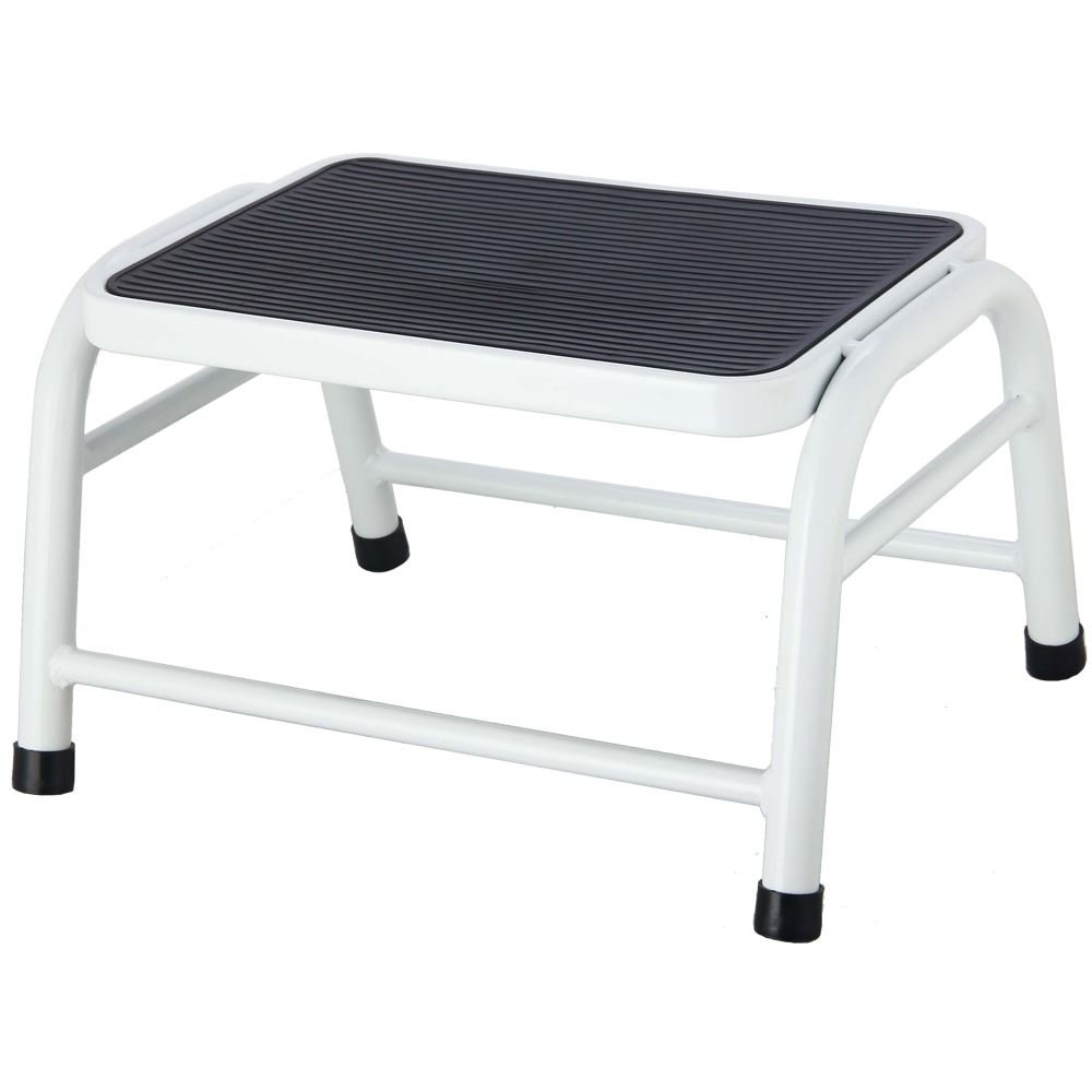 Home Discount® One Step Stool Metal Anti Slip Rubber Mat In White, Bathroom Kitchen Baby