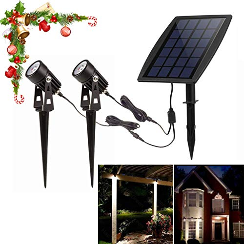 DINGLILIGHTING Solar Spot Lights Outdoor, LED Solar Landscape Spotlights, Solar Powered Wall Lights 2-in-1 Waterproof Solar Landscaping Light for Yard Garden Driveway Patio Lawn, Auto On Off Daylight (Solar Garden Spotlights Review)