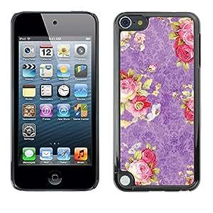 "Pulsar Snap-on Series Teléfono Carcasa Funda Case Caso para Apple iPod Touch 5 , Pink Roses Wallpaper Vintage Retro"""