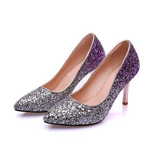 Slip Puntera nbsp;de on Medio Material Zapatos en Punta Lentejuela Suave Allhqfashion Tacón nbsp;Tacón Morado Mujer 87qgEnw