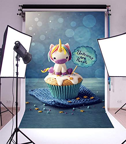 (GoEoo 3x5ft Vinyl Photography Background Unicorn Cupcakes Background Unicorn are Real Colorful Happy Birthday Party Newborn Baby Toddlers Girls Boy Fantasy Cake Love Theme Blur Blue Bokeh)
