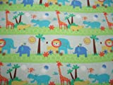 SheetWorld Fitted Cradle Sheet - Safari Animals - Made In USA