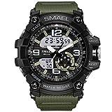Men's Military Digital Analog Sports Stylish Watch Waterproof Outdoor Electronic LED Backlight Display Alarm Stopwatch - Black