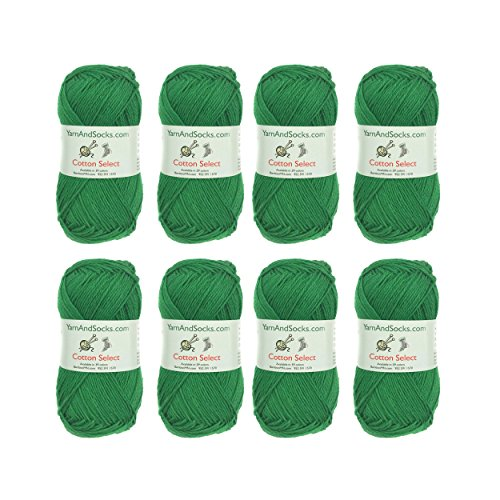 Cotton Select Sport Weight Yarn - 100% Fine Cotton - 8 Skeins - Col 204 - Shamrock Green